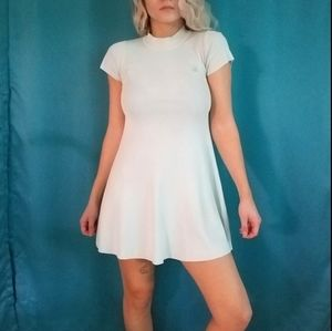 UNIF Mint Ribbed Knit Mock Neck Skater Dress sz M